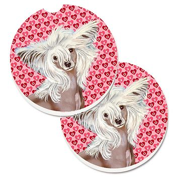 Chinese Crested Hearts Love and Valentine's Day Portrait Set of 2 Cup Holder Car Coasters LH9167CARC