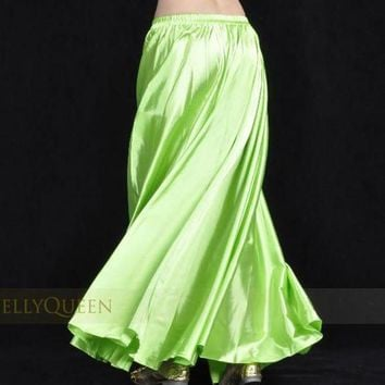 PEAPU3S 1pcs/lot  new style women sexy Shining Satin Long Skirt Swing Skirt dancing lady Belly Dance Costume 14 color