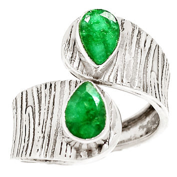 Emerald Sterling Silver Adjustable Wrap Ring