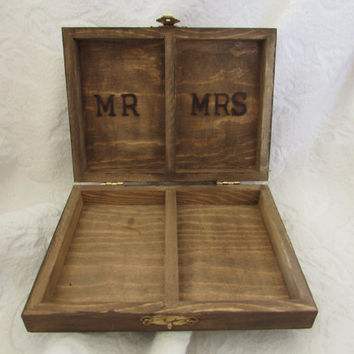 Rustic Wedding Ring Box Moss Heart Stained Wood Burned HIS HERS Divided Woodland Wedding