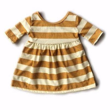 Toddler Kids Baby Girls Striped White and Yellow Short Sleeve O-Neck Baby Girl Dress Princess Party Cotton Dresses Clothes
