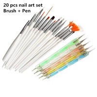 20pcs Nail Art Design Set Dotting Painting Drawing Polish Brush Pen Tools Nail Polish Art Brush (One brush was bent Design )