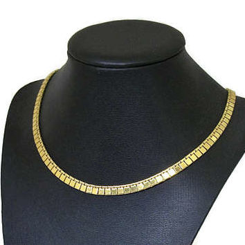 Vintage Monet Gold Tone 16 3/4 inch Necklace - Narrow Cleopatra Collarbone Necklace - 6 mm wide