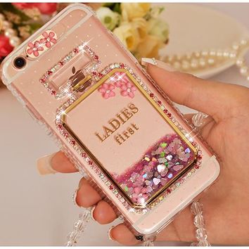 Dower Me Fashion Diamond Calling Flash Light Liquid Glitter Sand Perfume Bottle Phone Case Cover For iPhone 8 7 6 6S Plus 5 5S