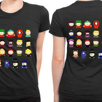 MDIGGW7 South Park All Character 2 Sided Womens T Shirt