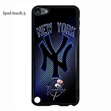 Ipod touch 5 5th generation Case Cover Protection Design MLB New York Yankees Baseball Sports Team Logo Ultra Slim Snap on Hard Plastic Phone Accessories for Men Collection Rubber
