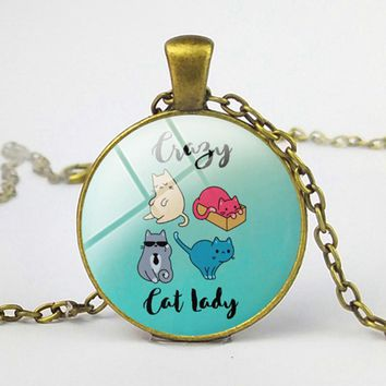 SUTEYI Crazy Cat Lady Necklace Cute Animal Pets Friend Pictures Glass Pendant Metal Women Men Necklaces Handmade Jewelry