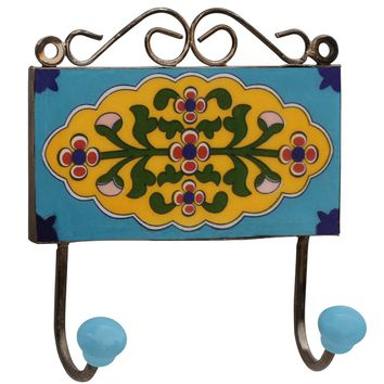 SouvNear Double Hook Wall-Mounted Decor - Cyber Monday Deals 2015 - Sale on - Hand-painted Blue Hook for Indoor & Outdoor - Cast Iron and Decorative Multicolor Floral Design Ceramic Hook for Hanging Coats, Clothes and keys
