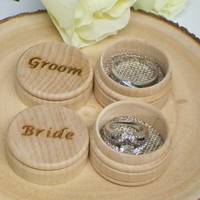 Wedding Ring Bearer Pillow Box, Mr Mrs, Engraved Keepsake Ring Box, Ring Holder, Rustic Wedding Box Set of 2