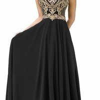 Dancing Queen 9266 - Black Long Prom Dress Embroidered Lace Bodice (2 Colors Available)