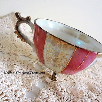 Vintage Lusterware Pink and Gold Flowers Tri-Footed Tea Cup with Scalloped Handle Porcelain China Pink Tea Cup Mid-Century Pearlized Tea Cup