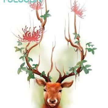 673fb0855 Rocooart RC2316 Waterproof Tattoos Sticker Color Sika Red Deer P