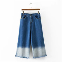 Summer Women's Fashion With Pocket Pants Gradient Denim Cropped Pants [4920284164]