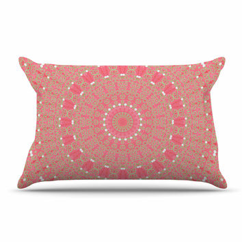 "Sylvia Cook ""Boho Hearts Coral"" Pink Orange Pillow Sham"