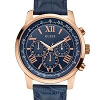 Blue, Brown and Rose Gold-Tone Classic Dress Watch at Guess