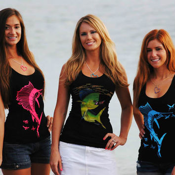 womens girls ladies fishing cute and stylish fitted tank tops with pink blue sailfish and mahi mahi, Dolphin painting by Kristy Grant