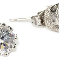"CZ by Kenneth Jay Lane ""Classic CZ"" Vintage 4 cttw Stud Earrings"