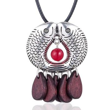 Wood Beads Silver Fish Pendant Necklace