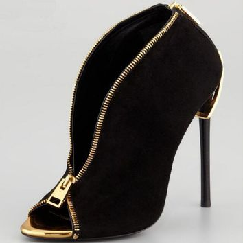 Black Suede Zip Up Pumps