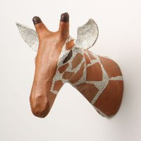 Savannah Story Bust, Giraffe by Anthropologie Orange One Size Wall Decor