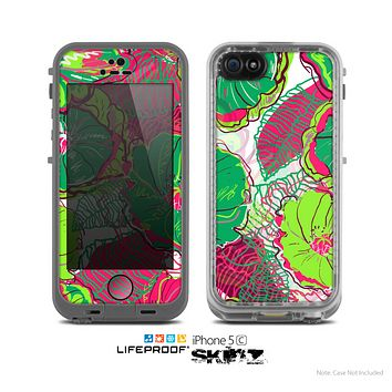 The Vibrant Green & Coral Floral Sketched Skin for the Apple iPhone 5c LifeProof Case