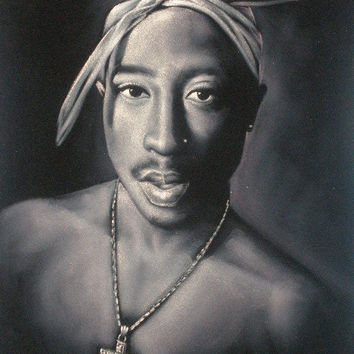 Tupac Shakur 2pac rapper black velvet original oil painting handpainted signed art 18 by 24 inches