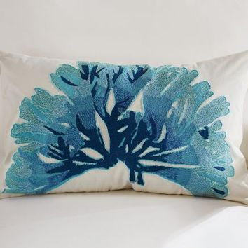 Blue Coral Embroidered Lumbar Pillow Cover