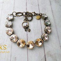 Peaches and Cream, Swarovski 12mm Bracelet, Antique Gold/Brass,Neutral, Bridal,Jewelry Gift,DKSJewelrydesigns, FREE SHIPPING.