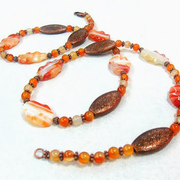 Long Carnelian Agate necklace Striped Orange White antiqued copper OOAK design Statement gemstone necklace