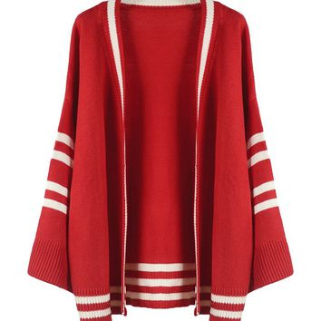 Long Open Cardigan Knit Sweater