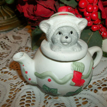 Grey Kitten and White Tea Pot Figurine Cat Kettle Ceramic Bisque Whimsical Animal Christmas Holiday Home Decoration
