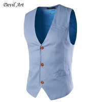 New Fashion Single Breasted Slim Fit Chaleco Hombre Sleeveless Cotton Waistcoat Suit Vest Mens Business Dress Vest