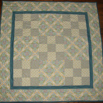 Quilted Table Topper Shabby Chic Cottage Chic Quilt Green Teal and Yellow Quilted Table Topper