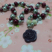 Beautiful, Purple, Green, Rose, Hand Wired, Glass Bead, Pin Up Girl, Necklace