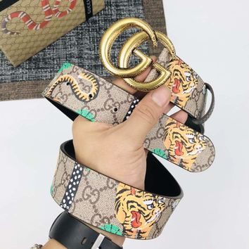 GUCCI Fashionable Men Woman Print Smooth Buckle Leather Belt