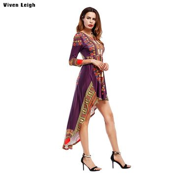 Viven Leigh African Vintage Dress Back Long Front Short Irregular Women Long Tail Dresses Bohemian 2018 Summer Beach Maxi Dress