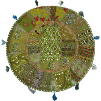 """28"""" Green Indian Vintage Patchwork Embroidered Floor Pillow Cushion Case Sham"""