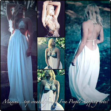 Free people summer maxi dress, Bohemian beach slip dress, Hippie Boho dresses Beach clothing for the summer 2015, True rebel clothing Med
