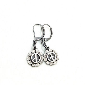Peace Sign Earrings, Silver Peace Sign, Silver Flower Earrings, Cute Earrings, Leverback Earring, Rustic Earring, Gift for Teen