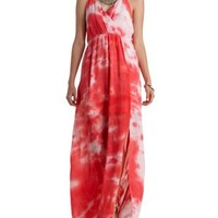 Red Combo Macrame-Back Tie-Dye Maxi Dress by Charlotte Russe