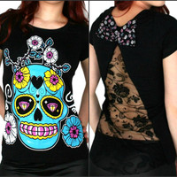 TOO FAST GOTHIC PUNK EMO ROCKABILLY T SHIRT DIAMOND EYES LACE SKULL  ZOMBIE