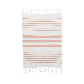 Striped Cotton Hand Towel-Dusty Pink