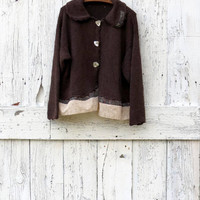 Upcycled Sweater, Indie Fashion Brown Cardigan, Repurposed Clothes, Boho Sweater, Recycled Fashion