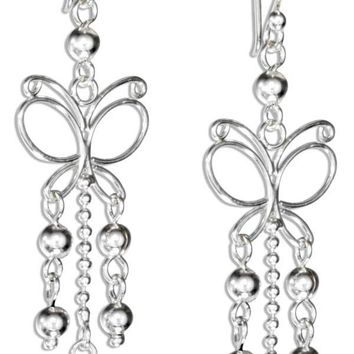 Wire Butterfly Earrings with Beads - Sterling Silver Dangles