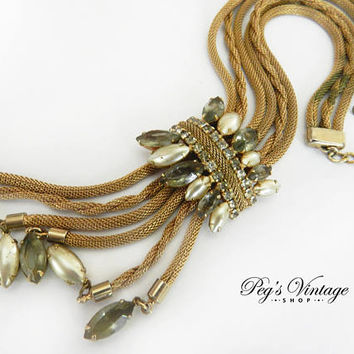 Unique Antique Gold Mesh Necklace, Rhinestone, Pearl Tassel Mesh Vintage Necklace, Antique Gold Bolo Necklace