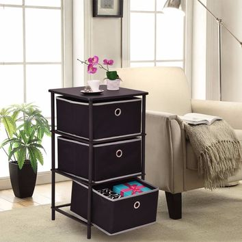 Golplus Bedroom Furniture Nightstands End Side Sofa Table Bin Home Office Storage Cabinets 3Tiers Modern Bedside Cabinet HW54188