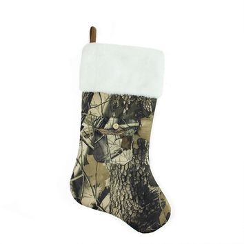 "20.5"" Tree Print Camouflage Christmas Stocking with Pocket Design and White Faux Fur Cuff"