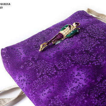 Free shipping Cotton and Linen Crossbody woman bag with vintage brooch Purple handbag Small iphone purse