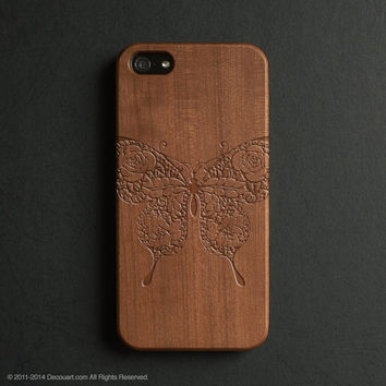 Real wood engraved butterfly pattern iPhone case S034