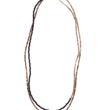 Brunello Cucinelli Colorblock Beaded Strand Necklace in Black Agate